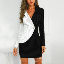 EIJOQAN Autumn Summer New Black-and-white stitching Slim Stripe colour collision Button  Professional dress A257