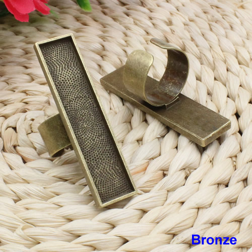 Fit 10x50mm Ring Metal Copper Rectangle Blank Setting Bezel Blank Cabochon Ring Base For DIY Ring 10pcs/lot K02548