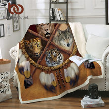 BeddingOutlet Wolf Dreamcatcher Blanket Microfiber Plush Throw Blanket D Animal Tribal Lion Tiger Leopard Bears Thin Quilt Queen(China)