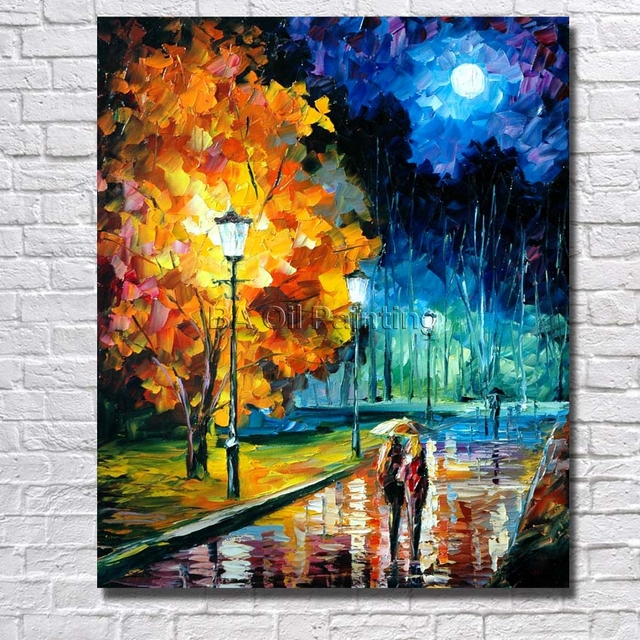 Picture Handpainted Modern Art Beautiful Night Scenery Palette Knife No Framed Oil Carving Painting On Canvas Wall Decor