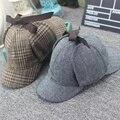 Alta qualidade cosplay cap chapéu de detetive sherlock holmes deerstalker copos cinza novos homens mulheres boinas cap vestidos