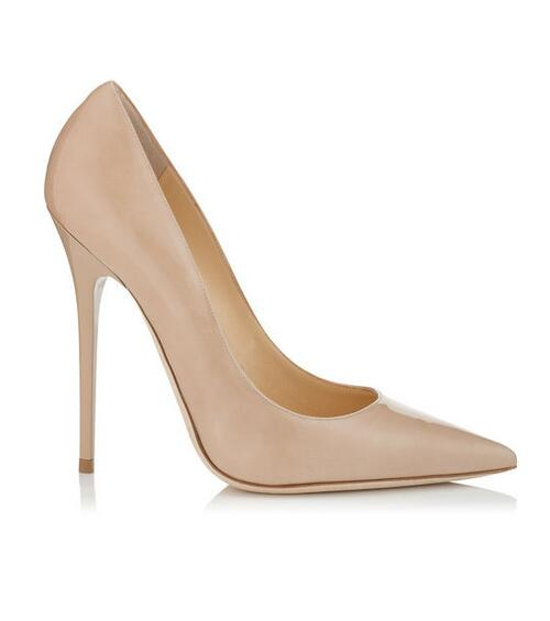 Nude Patent Leather Pointy Toe Pumps Top Selling Plain Stiletto Heels Wedding Party Dress shoes woman Women Size 35 to 42
