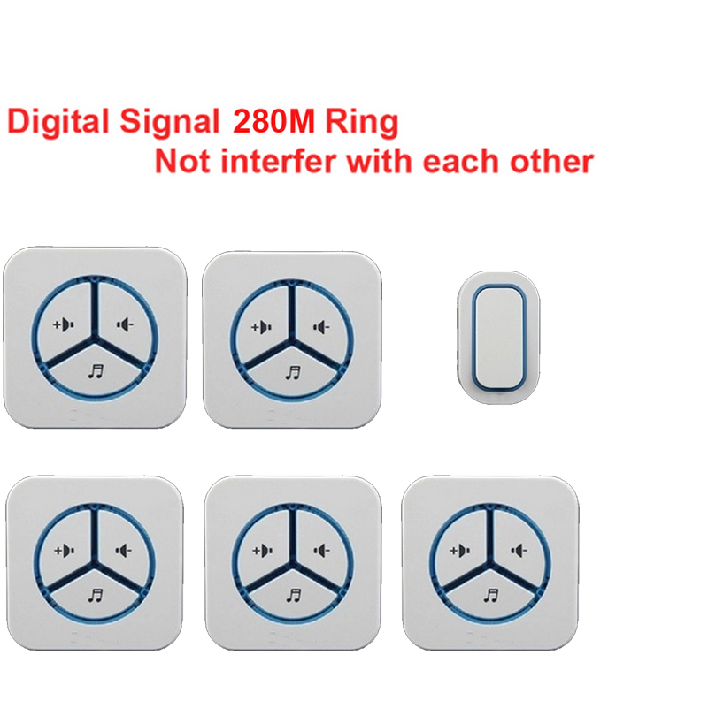 1 emitter+5 receivers doorbell Waterproof 280m work wireless doorbell,wireless door chime,wireless bell, 48 melodies door bell new door ring waterproof 280m long range wireless doorbell wireless door chime wireless bell door bell 48 melodies