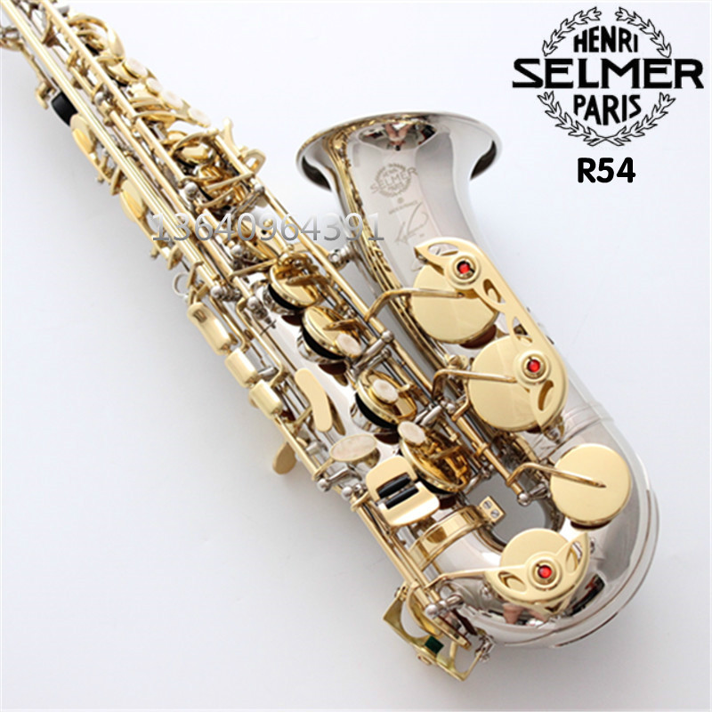 2018 Best Selling French Selmer Henri Nickel SiIver Alto Sax gold key Saxophone Paris 54 E Flat Professional Musical Instrument one horn double row 4 key single french horn fb key french horn with case surface gold lacquer professional musical instrument