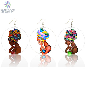 Somesoor Gedrukt Hedawrap Vrouw Afro Houten Etnische Oorbellen Vintage Zwarte Koningin Haar Schilderen 6 Cm Platte Ronde Hout Sieraden Geschenken