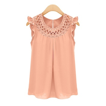2017 elegant summer sleeveless blouses blusas chiffon o neck blouse womens chemise femme woman clothes white.jpg 350x350