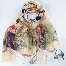 Шелковый шарф женский шарф древняя красота Шелковый платок дизайнерский шарф женский Шелковый Пашмина Тонкий шелковый шарф роскошный подарок для леди