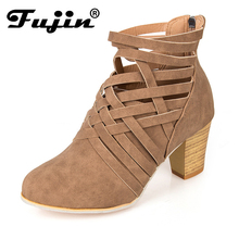 Fujin New Fashion Women Ankle Boots Square High Heel for Woman Zipper Autumn Winter Female Shoes Big Size