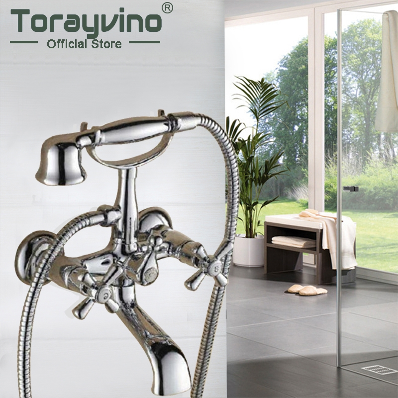 Bathroom Basin Sink Faucet Shower Set Faucet With Hand Shower Black Water Mixer Tap Faucets Wall Mounted Telephone Type china sanitary ware chrome wall mount thermostatic water tap water saver thermostatic shower faucet
