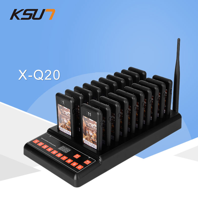 KSUN T Q20 Restaurant Pager Wireless Paging Queuing System 20 Call Coaster Pagers 999 Channel Restaurant