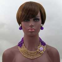 Costume African Jewelry Set Purple/Gold Nigerian Wedding Party Crystal Beads Necklace Earrings Bracelet Set Free Ship ALJ543