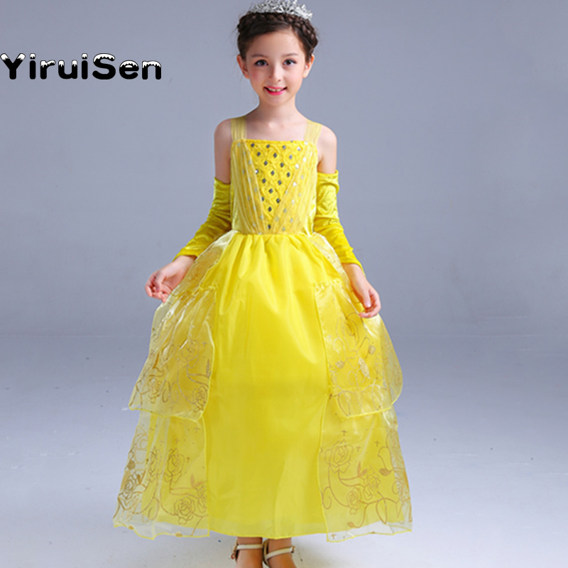 2017 New Girls Dresses Role Play Prom Party Beauty Costume Belle Dress For Kids Halloween Clothes Princess Dresses For Children role play утюг smoby