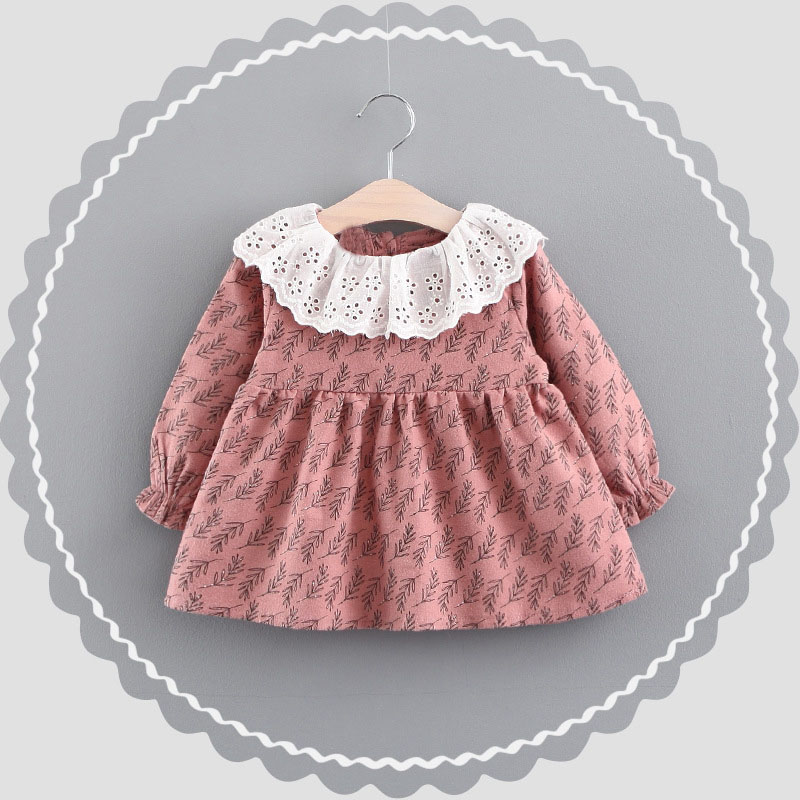 5302dbee1312 WYNNE GADIS Autumn Baby Girls Wheat Print Long Sleeve Hollow Out Collar  Princess Pleated Tutu Kids Dress vestido infantil-in Dresses from Mother    Kids on ...