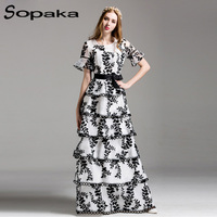 SOPAKA High Quality Embroidery Floral Sashes Floor Length Runway Maxi Dress Black White Mesh Tunics Cake