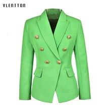 2019 New Design Plus Size Green Office Lady Blazers Coat Solid Lion Button Slim Women Blazer Jacket Outerwear Femme High Quality button through solid outerwear