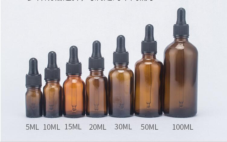 10pcs/lot 5ml 10ml 15ml 20ml 30ml 50ml 100ml Amber Glass Liquid Reagent Pipette Bottle Eye Dropper Drop Aromatherapy Selling