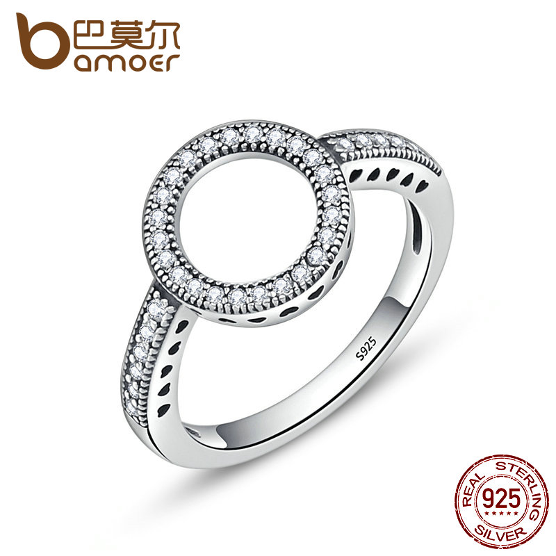 BAMOER 2018 HOT SELL 100% Genuine 925 Sterling Silver Forever Clear Black CZ Circle Round Finger Rings for Women Jewelry SCR041