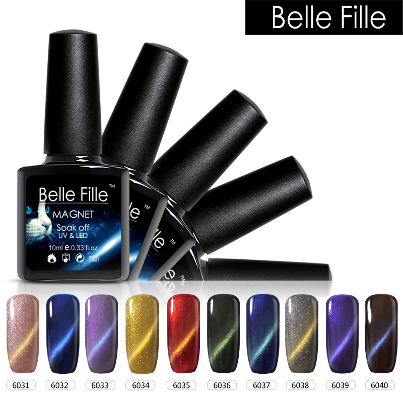Belle Fille Color Style Magnetic Cat Eyes Gelpolish Holographic Nail ...