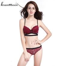 2017 Top Quality Sexy Underwear Women Bra Set Lace Bra Sexy Deep V Bow-knot Bra Briefs Set Brand Push Up Lingerie Set BS26
