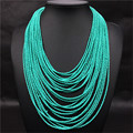 New 2016 Multi-Layer Necklace Small Turquoise Bead Bohemia Necklaces Pendants For Women Statement Necklace Fashion Party Jewelry