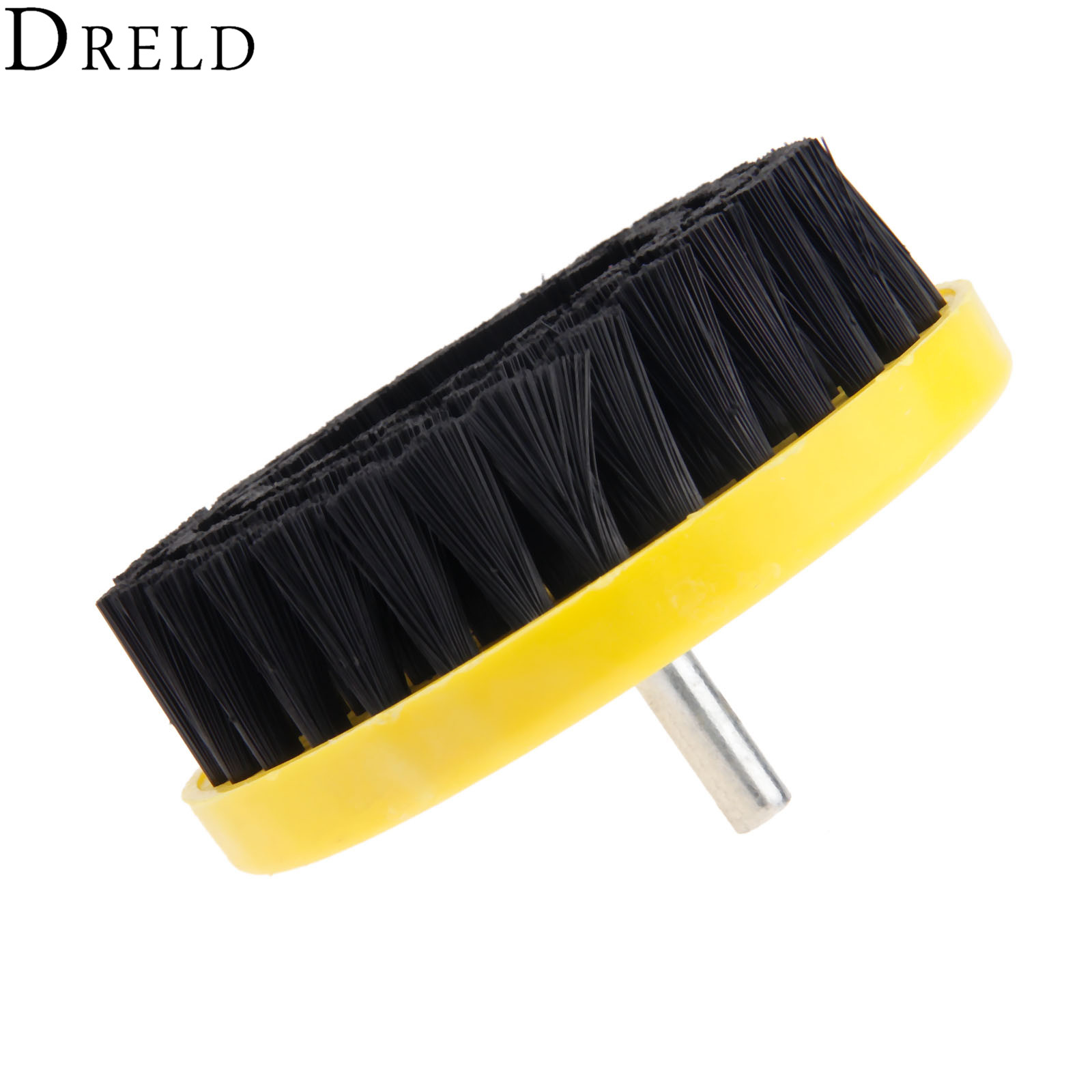 DRELD Black 110mm Electric Power Scrub Drill Brush Clean Brush for Carpet Sofa Leather Plastic Wood Furniture Car Cleaning Tools