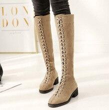 967eed2f0a 2018 Otoño Invierno rodilla botas largas zapatos mujer nuevo modelo coreano  Martin botas de encaje gamuza