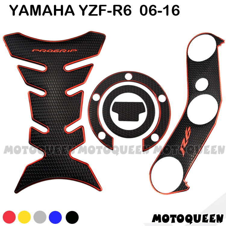 Motorcycle Gas Fuel Oil Tank Pad Plate Fork Protector Decoration Decals Sticker Waterproof For Yamaha YZF R6 YZF600 2006 - 2016