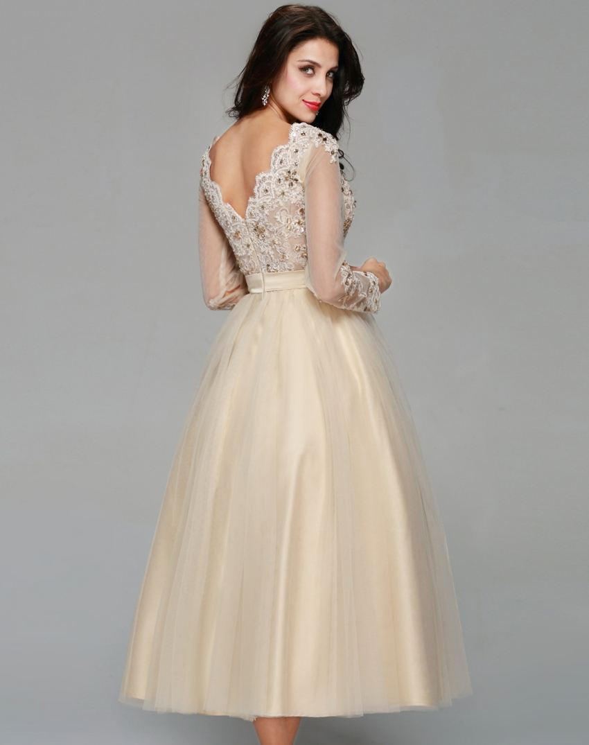 Elegant Champagne Tulle Appliqued Lace Crystal Tea-length Long Sleeve Evening Dress