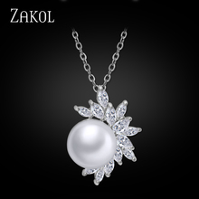 ZAKOL 3 Color Trendy Cubic Zircon Leaf White Color Pendants Necklaces Imitation Pearl Jewelry for Women Wedding FSNP078