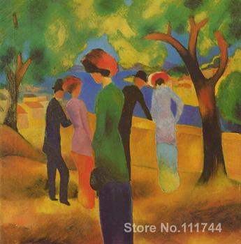 abstract landscape painting Woman in a Green Jacket August Macke decorative art Hand painted High quality
