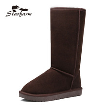 2017 Snow Boots Australian Woman Winter Boots Fur Cow Suede Mid High Heigh Flat Heel Boots Women TPR Sole Shoes SF17011