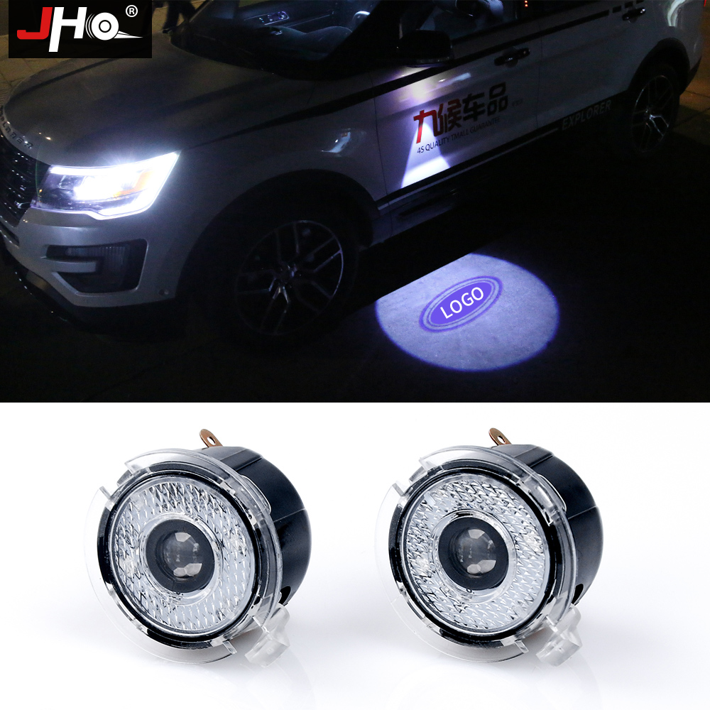 цена на JHO 2x Door Ghost Shadow LED Logo Projector For Ford Explorer 2012-2018 Focus Mondeo Puddle Lamp Welcome Light Car Accessories