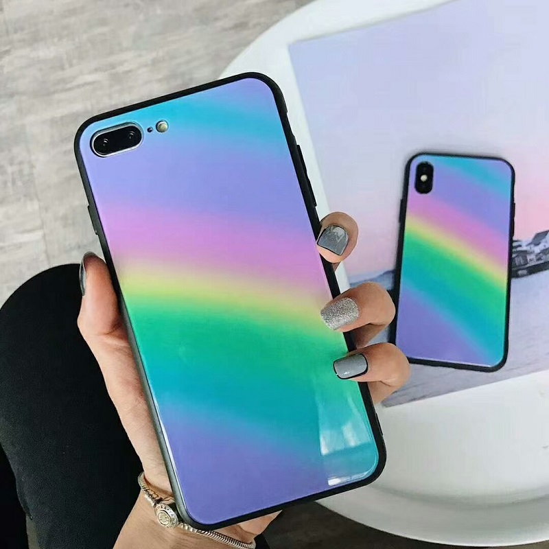 Fashion Cute Hard Matte phone Cases For iphone 7 8plus Case Rainbow cover For iphone 6 s ...