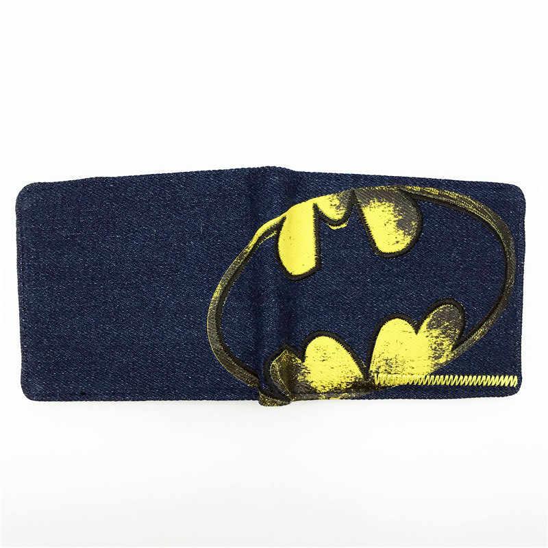 Anime wallets 새 디자이너 청바지 지갑 배트맨 수퍼맨 데님 지갑 어린 소년 소녀 지갑 작은 돈 가방