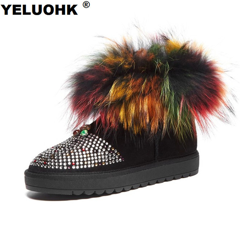 New Crystal Women Snow Boots Plush Female Winter Boots Warm Australia Ankle Boots For Women With Fur Shoes For Woman Winter 2016 rhinestone sheepskin women snow boots with fur flat platform ankle winter boots ladies australia boots bottine femme botas