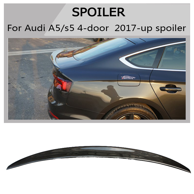 Carbon fiber Spoiler Boot Duck Lip Wing For <font><b>Audi</b></font> <font><b>a5</b></font> s5 Quatto <font><b>Sportback</b></font> 4-Door 2019 <font><b>2017</b></font> 2018 not fit for 2 door image