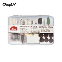 Portable 32pcs 2.35mm Nail Art Drill Bits Sets Sanding Bands Set Electric Manicure Accessories File Tools for Machine Nail Drill