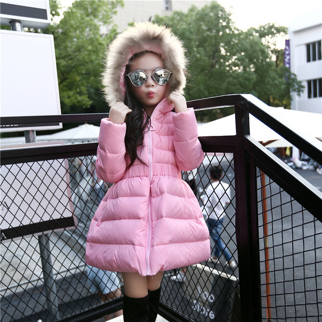 Girls Jackets & Coats New 2017 Arrivals Fashion Fur Hooded Thick Warm Parka Down Kids Clothes Cotton Children's Outwear Clothing