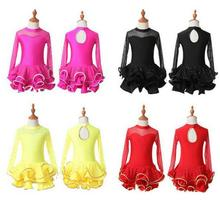 Girls Long Sleeve Latin Ballroom Tango Dresses Samba Dance Competition Dress Costume Sexy Lace Ballroom Dancing Dresses For Kids