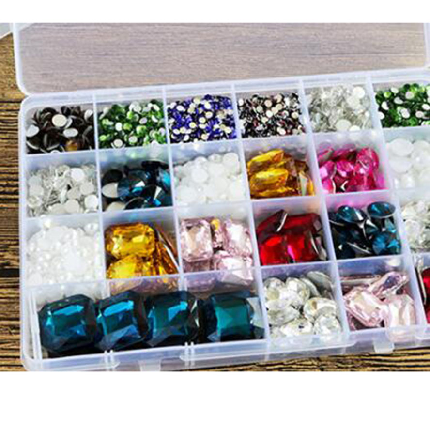 24 Slots Plastic Storage Box Diamond Painting kits Nail Art Rhinestone Tools Beads Storage Box Detachable Case Organizer Holder