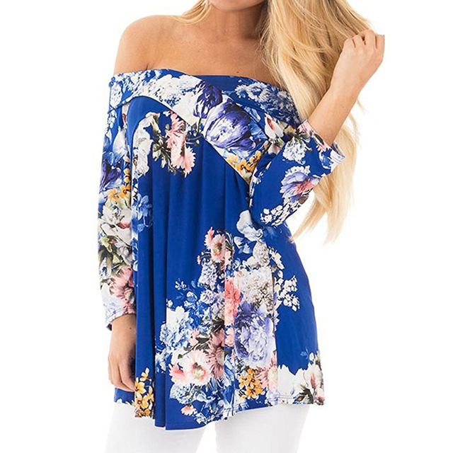 Off The Shoulder Sexy Blouse Women Shirt Half Sleeve Slash Neck Floral Shirt Tops Tee 2017 Summer Blouses Blusa 3XL WS1402Z