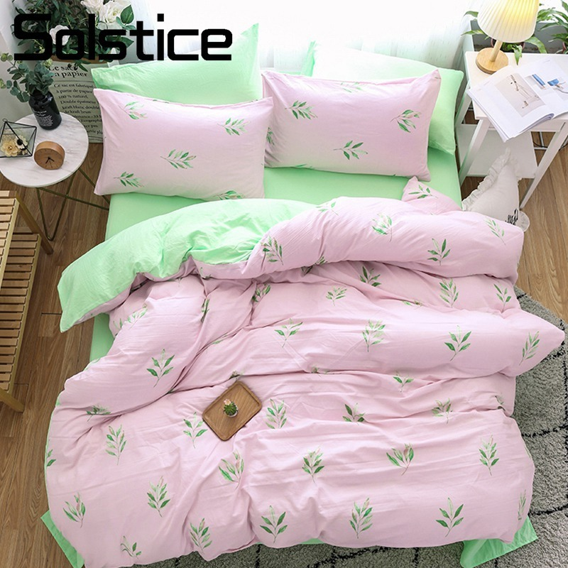 Solstice Home Textile Girl Teen Bedding Sets Light Pink Green Duvet Cover Pillowcase Bed Sheet Woman Adult Bedclothes King Queen
