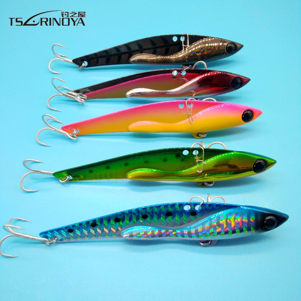 TSURINOYA 5PCS High Quality Metal Vib Lures Fishing VIB Lure 105mm/35g Artificial Cicada vib Bait For