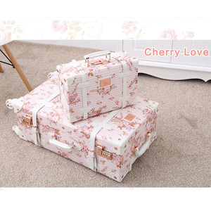 """Image 1 - Carrylove 20""""22""""24""""26"""" inch girls retro Flower trolley case luggage set spinner vintage suitcase on wheels"""