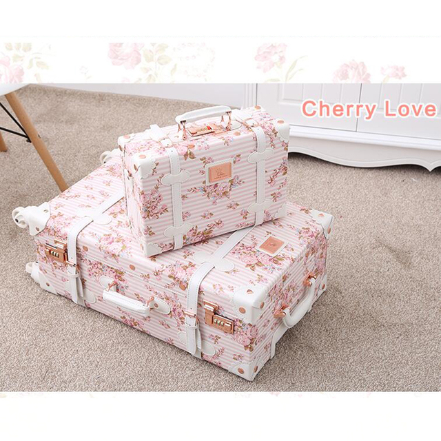"Carrylove 20""22""24""26"" inch girls retro Flower trolley case luggage set spinner vintage suitcase on wheels"