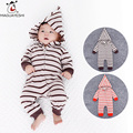 2016 Fashion Baby Boy Rompers Long Sleeve Striped Hooded Jumpsuits Newborn Baby Girl Overalls Spring Autumn Infant Clothing Set