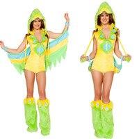 Halloween party Zielony brid kostiumy zwierząt Kapturem Piżamy Dorosłych Cosplay Cartoon Zwierząt Onesies Piżamy Flanelowe Bluzy