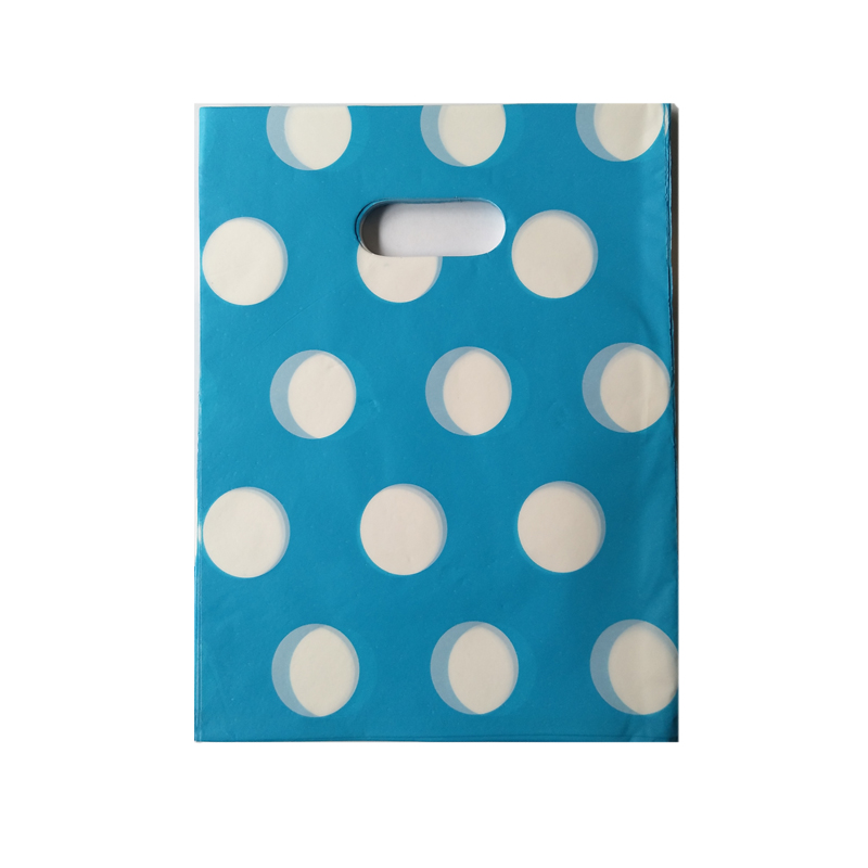 Hotsale 100pcs/lot 15x20cm Dots Design Blue Plastic Gift Bag Jewelry Gifts Snacks Packaging Plastic Shopping Bags With Handle