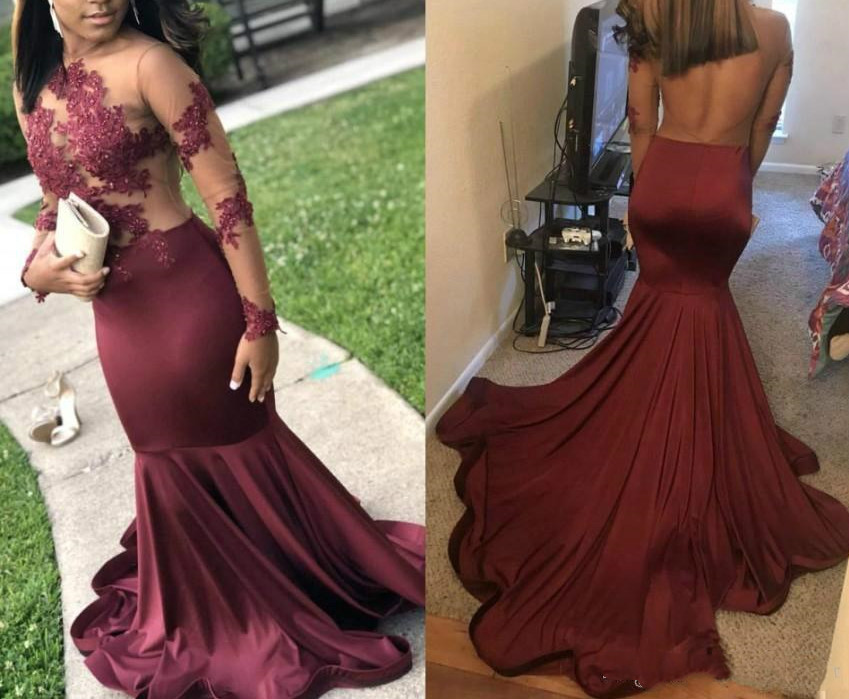 New Arrival appliques Burgundy   Prom     Dresses   vestidos de gala Long Sleeve Illusion Backless Long Evening Gowns   prom     dress   2019