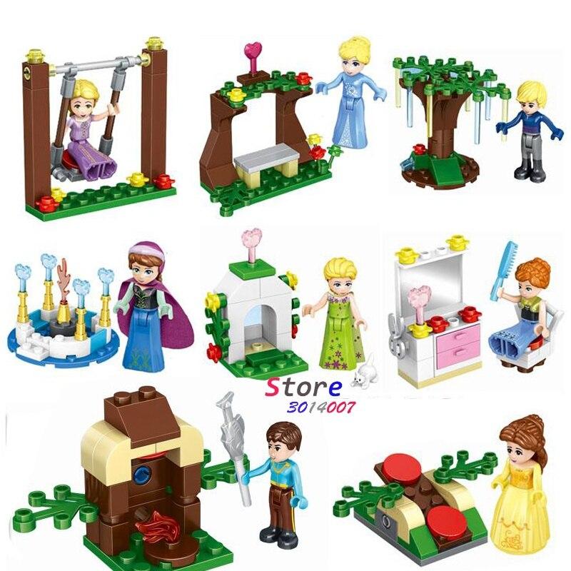 80pcs super hero 37018 Marvel Elsa Card Running Snake Snow White Ice Princess Friends model building blocks toys for children